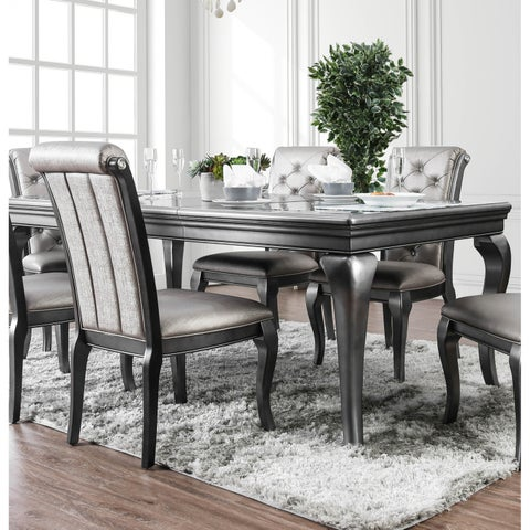 Furniture of America Valencia Glam Silver Grey Dining Table with Leaf