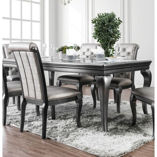 Furniture of America Mora Glam Silver 84-inch Dining Table with Leaf - Grey