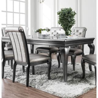 Furniture Of America Mora Glam Silver 84 Inch Dining Table With Leaf Grey