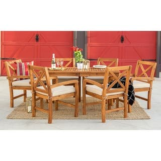 Havenside Home Surfside 7-piece Acacia Outdoor Dining Set - Brown
