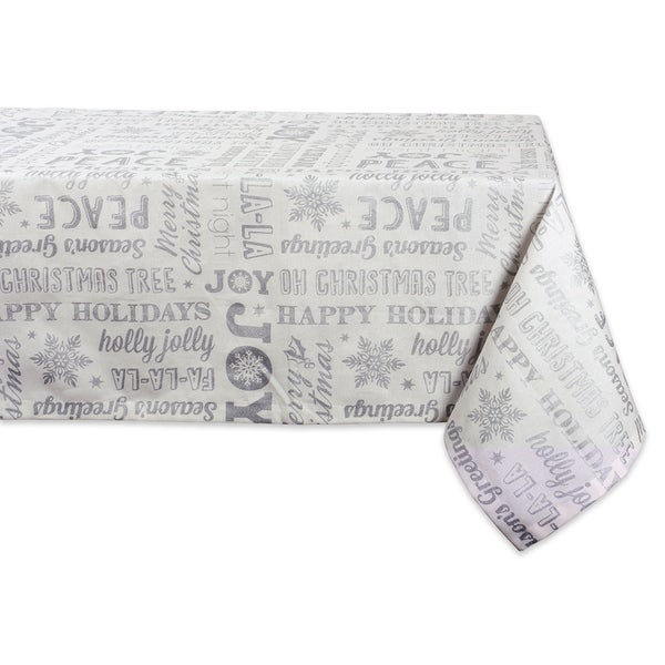 Design Imports Silver Christmas Collage Kitchen Tablecloth (84 Inch Wide x 60 Inch Long)