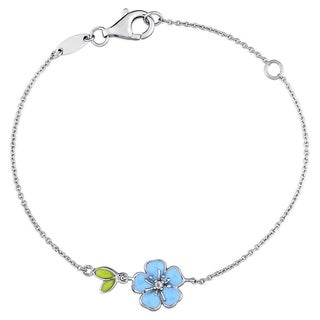 Miadora Sterling Silver Children's Blue Enamel White Topaz Accent Flower Charm Bracelet (6 inches with 1 inch extender)