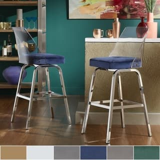 Shop Miles Clear Acrylic Swivel High Back Bar Stools With