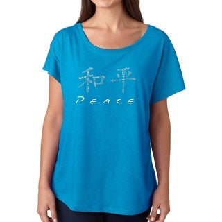 Los Angeles Pop Art Dolman Word Art Shirt - CHINESE PEACE SYMBOL (More options available)