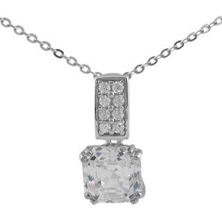 Journee Collection  Sterling Silver Square Drop CZ Pendant