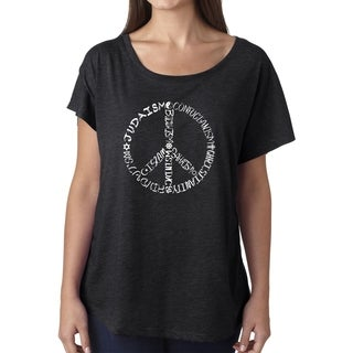 Los Angeles Pop Art Dolman Word Art Shirt - Different Faiths peace sign