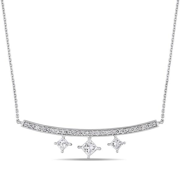 d6968cbb616b6 Shop Miadora Signature Collection 14k White Gold 1ct TDW Princess ...