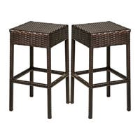 Provence OH0590 Outdoor Patio Backless Wicker Bar Stools
