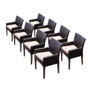 Provence OH0588 Outdoor Patio Wicker Dining Chairs with Arms (Set of 8)