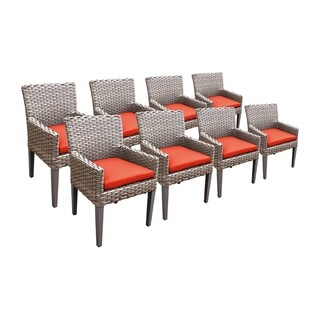 Sea Breeze OH0635 Outdoor Patio Wicker Dining Chairs with Arms (Set of 8)