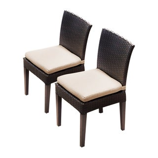 Provence OH0581 Outdoor Patio Wicker Side Chairs (Set of 2) (Option: Tan)