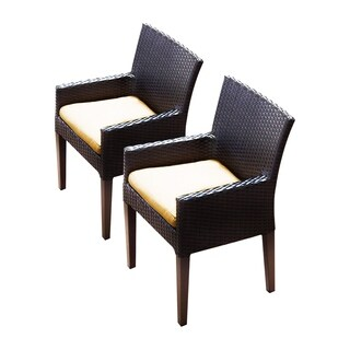 Provence OH0589 Outdoor Patio Wicker Dining Chairs with Arms (Set of 2)