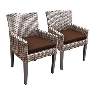Sea Breeze OH0636 Outdoor Patio Wicker Dining Chairs with Arms (Set of 2)