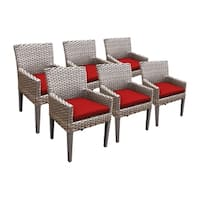 Sea Breeze OH0634 Outdoor Patio Wicker Dining Chairs with Arms (Set of 6)