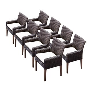 Calypso OH0669 Outdoor Patio Wicker Dining Chairs with Arms (Set of 8)