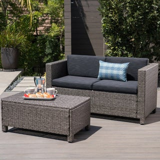 Puerta Outdoor Wicker Loveseat and Coffee Table Set by Christopher Knight Home