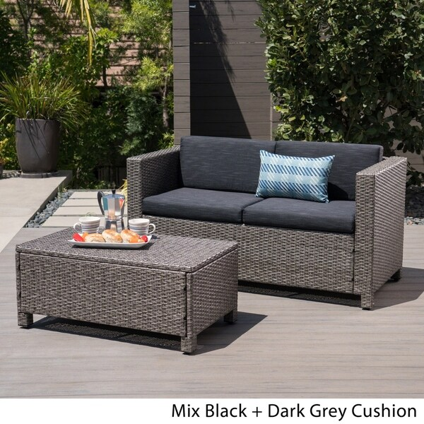Shop Puerta Outdoor Wicker Loveseat And Coffee Table Set By