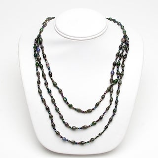 Handmade Paper Bead Natino Necklace Dark Green (Uganda)