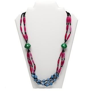 Handmade Paper Bead Olok Necklace Pink Blue (Uganda)