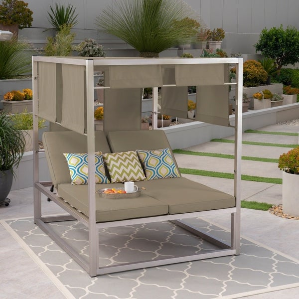 Heminger Outdoor Aluminum Daybed with Canopy by Christopher Knight Home. Opens flyout.
