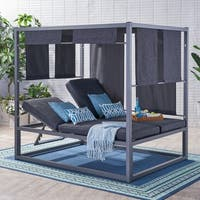 Heminger Outdoor Aluminum Daybed with Canopy by Christopher Knight Home