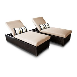Bayside OH0318 Outdoor Patio Wicker Chaise Lounge (Set of 2)