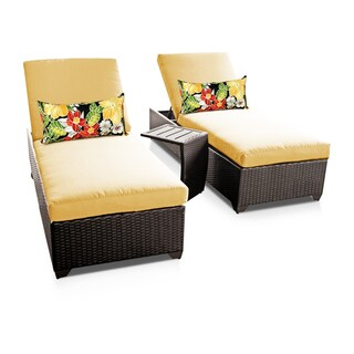 Bayside OH0319 Outdoor Patio Wicker Chaise Lounge Set (2 Chaises, 1 Side Table)