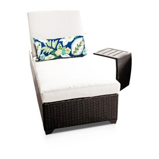 Bayside OH0317 Outdoor Patio Wicker Chaise Lounge with Side Table (Option: Cream)