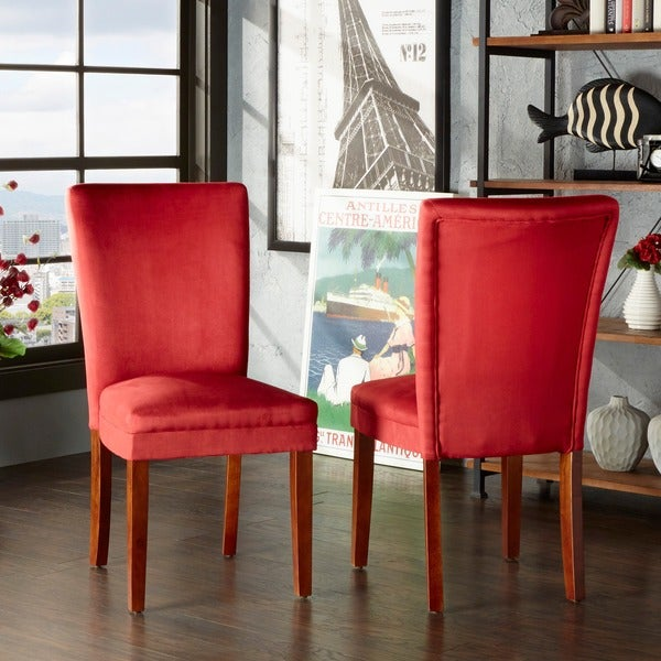 Shop TRIBECCA HOME Parson Cranberry Red Dining Chairs (Set