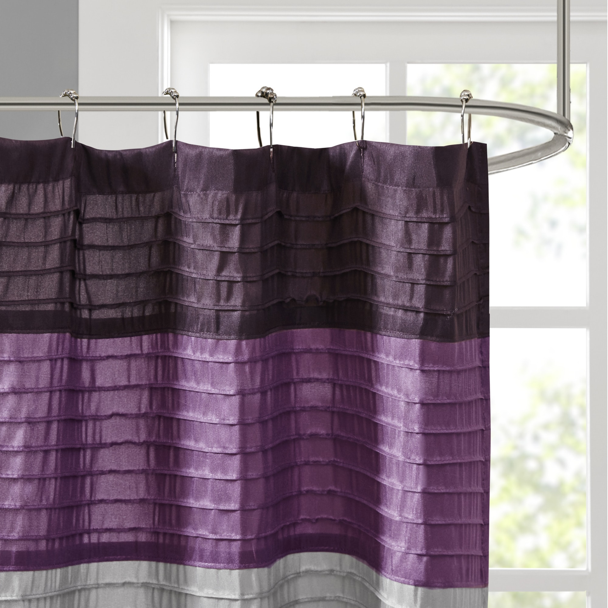 Copper Grove Kiston Purple Strip Faux Silk Shower Curtain