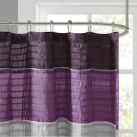 Copper Grove Echo Valley Purple Strip Faux Silk Shower Curtain