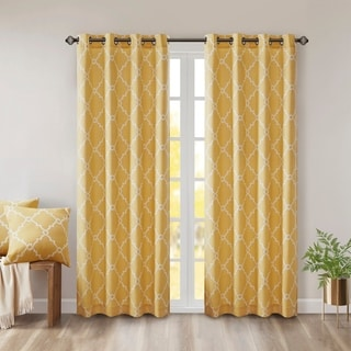 Madison Park Westmont Fretwork Print Pattern Single Curtain Panel (50W x 63L - Yellow)