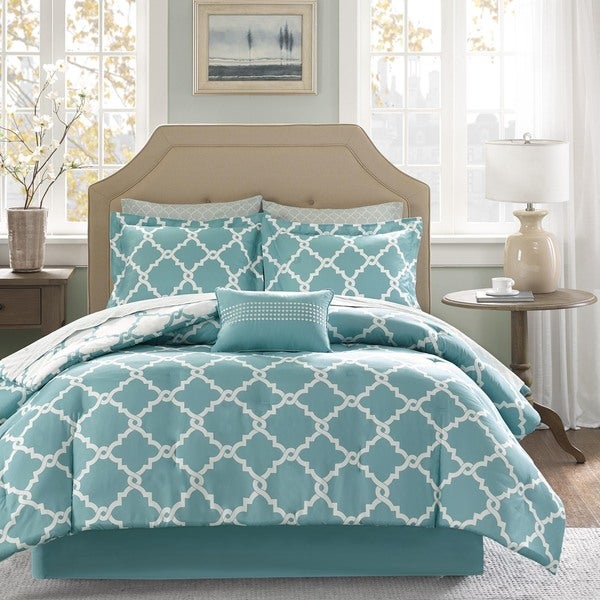 Madison Park Essentials Concord Aqua Reversible Complete Comforter and Cotton Sheet Se