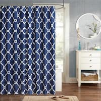Clay Alder Home Niantic Blue Chevron Shower Curtain