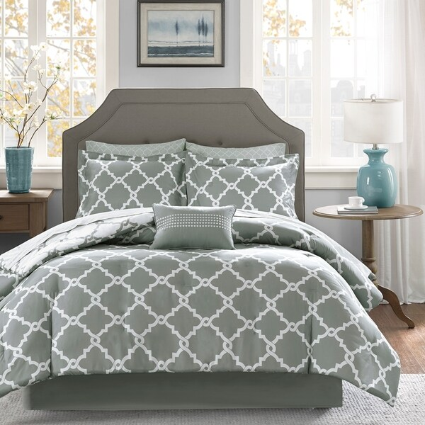 Shop Madison Park Essentials Almaden Grey Trellis Pattern
