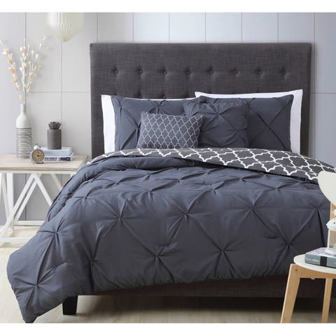 Madrid Pintuck Reversible Comforter Set with Throw Pillows