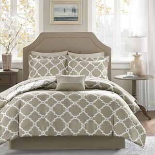 Madison Park Essentials Diablo Taupe Reversible Complete Comforter and Cotton Sheet Set
