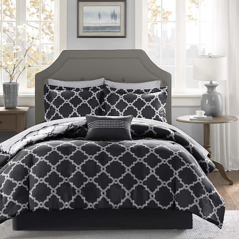 Madison Park Essentials Alameda Black Reversible Complete Comforter and Cotton Sheet Set