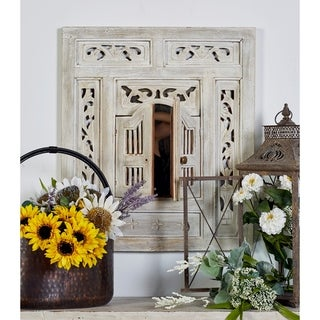 The Curated Nomad Jiminez Distressed Whitewash Mirror - Off-White