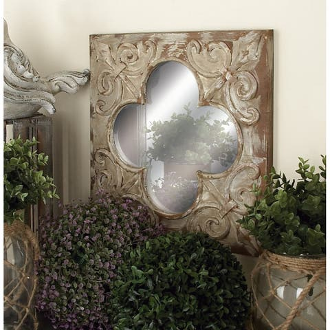 The Curated Nomad Jiminez Embossed Fleur Mirrors (Set of 3) - Brown
