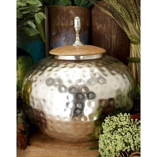 The Curated Nomad Jiminez Metal Wood Jar 11-inch X 12-inch