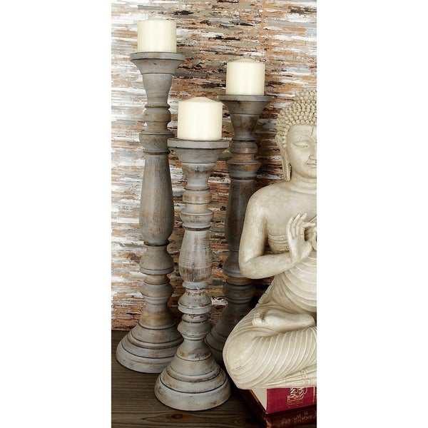 The Gray Barn Joyful Stream Multicolor Wood Antique Finish Candle Stand (Set of 3)
