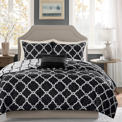Madison Park Alameda Black Reversible Coverlet Set