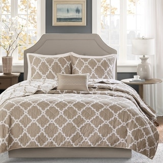 Madison Park Diablo Taupe Reversible Coverlet Set