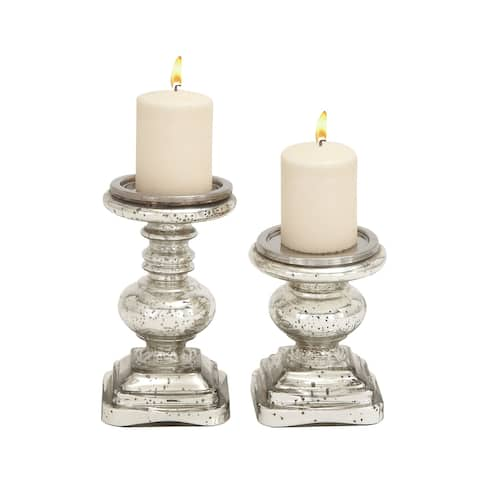 The Gray Barn Joyful Stream Silver-colored Glass Candle Holders