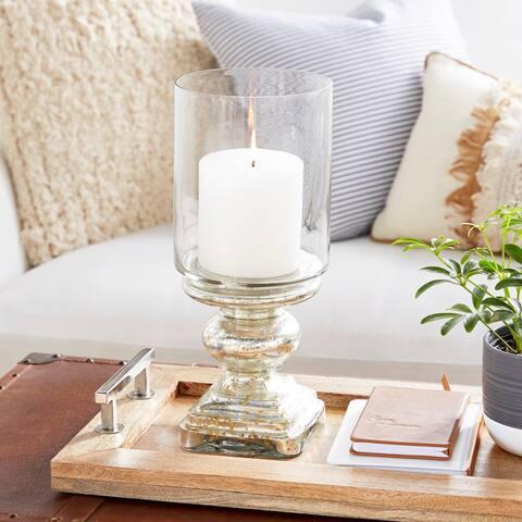 The Gray Barn Joyful Stream Silver Glass 16-inch Pedestal Candle Holder