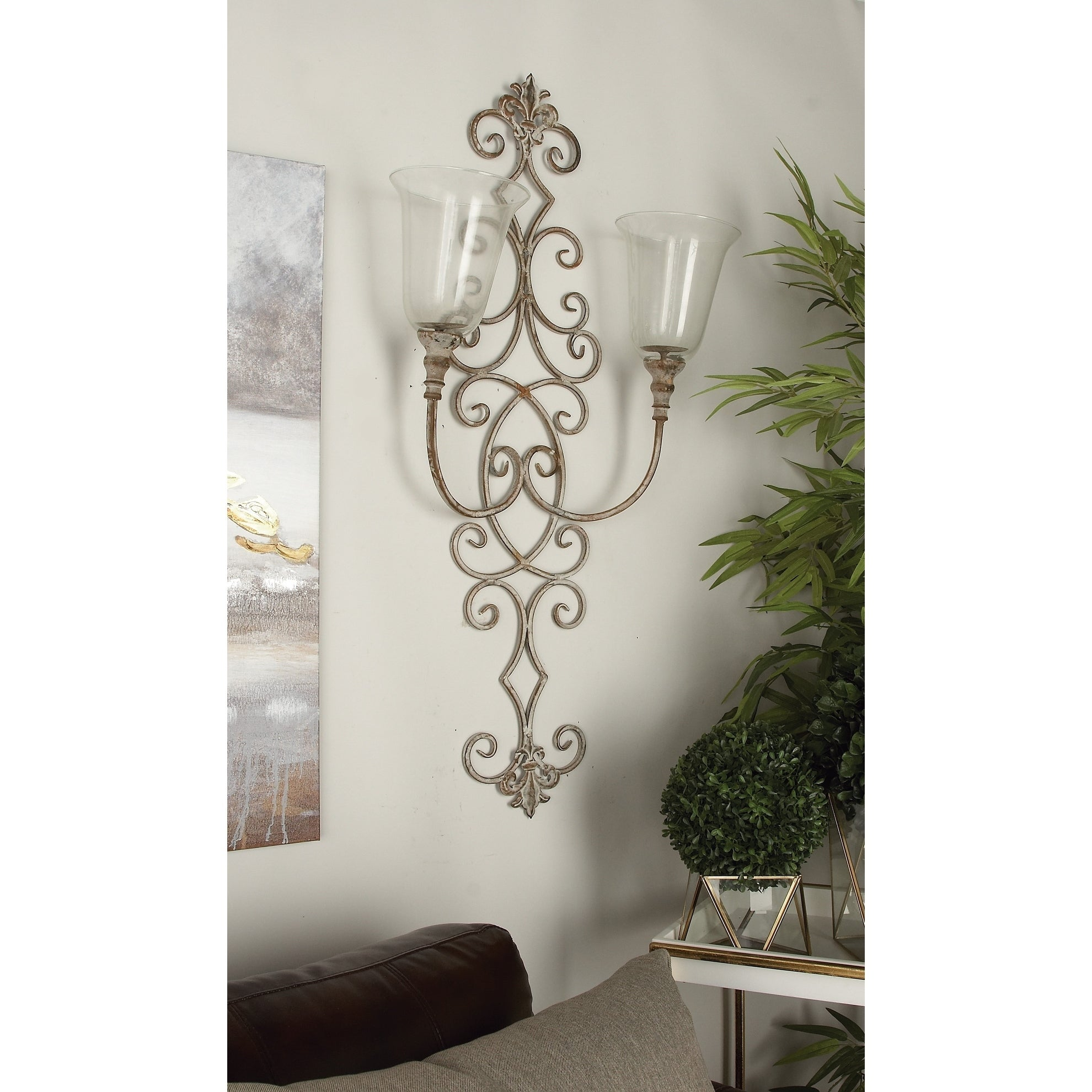 Rustic 41 X 19 Inch Scrolled Iron Wall Candle Sconce By Studio 350 Overstock 21181189