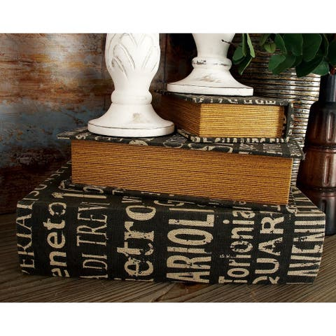 The Gray Barn Joyful Stream White/Tan/Black MDF and Leather Book Boxes (Set of 3)