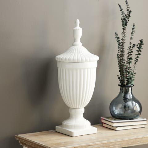 Updated Traditional White Ceramic 26-inches High x 10-inches Wide High Gloss Urn