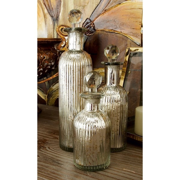 The Gray Barn Joyful Stream Decoractive Silver Glass Bottles with Stoppers (Set of 3)